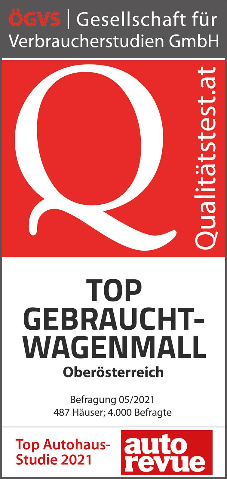 Qualitätstest - TOP GEBRAUCHTWAGENMALL BEFRAGUNG 05/2021